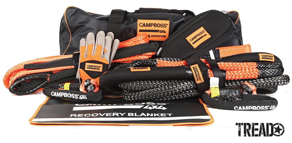 The kit features three key components that eliminate the risk associated with traditional recovery kits: a kinetic recovery rope, winch extension rope and soft shackles. There are no steel components, which helps increase recovery safety. Black and orange tree protector, gloves, heavy-duty carry bag and more are also included.