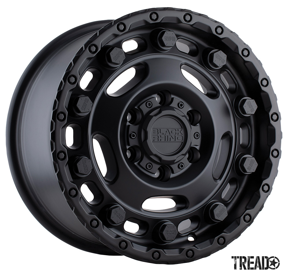 The Black Rhino Glacier is hefty in looks with protruding bolt heads, gusset detailing, and lots of details. This black wheel is engineered with a load rating of 3,300 pounds per wheel for compatibility with heavy-duty commercial vans. Specialized wheel fitments include the Mercedes-Benz Sprinter, Ford Transit, RAM ProMaster, Toyota HiAce and Volkswagen Crafter.
