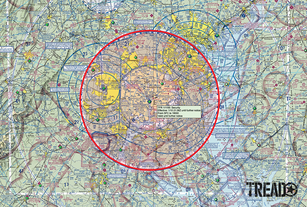 Sky Vector provides free colorful FAA sectional chart maps of the entire United States, with links to airport information and TFRs. The red circle around Washington, D.C., indicates an active TFR; if it's clicked, it will find specific details.
