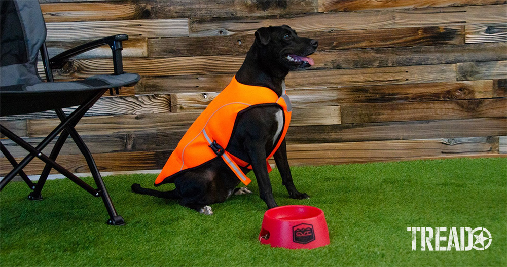 The K9 Cooling Vest from CVT is designed with a breathable, mesh exterior. It incorporates an absorbent cotton interior and is easily buckled on and off. It features a reflective trim and is available in high-visibility orange.