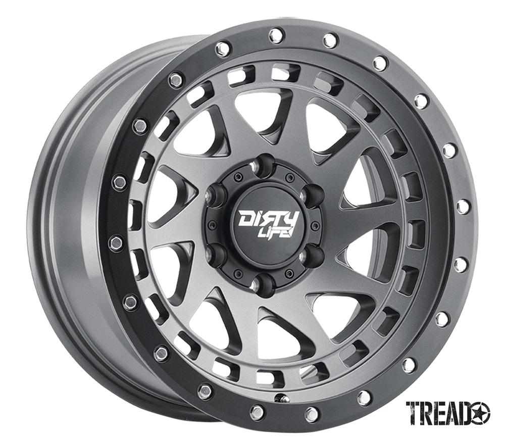 The light and tough Enigma Pro from Dirty Life Race Wheels offers a swept spoke design that features a simulated beadlock for a rugged look, silver and black detailing with black center with Dirty Life centercap.