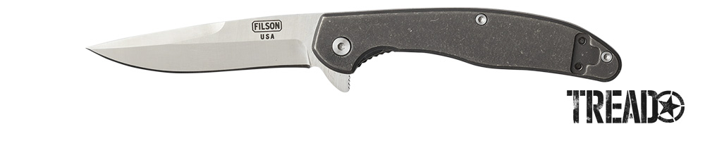 Filson/TitaniumFrame-Lock Knife has a stainless steel non-serrated blade and a titanium handle.
