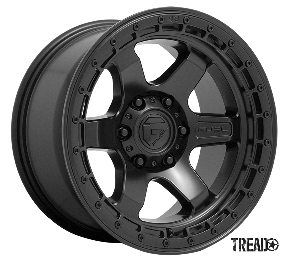 Fuel Off-Road/The Block features a concave, six-spoke design, as well as the Fuel Off-Road logo embossed on the spoke of the wheel. The Block is available in matte black, matte anthracite and matte bronze. Pictured is black six-spoke with exterior nub detailing.