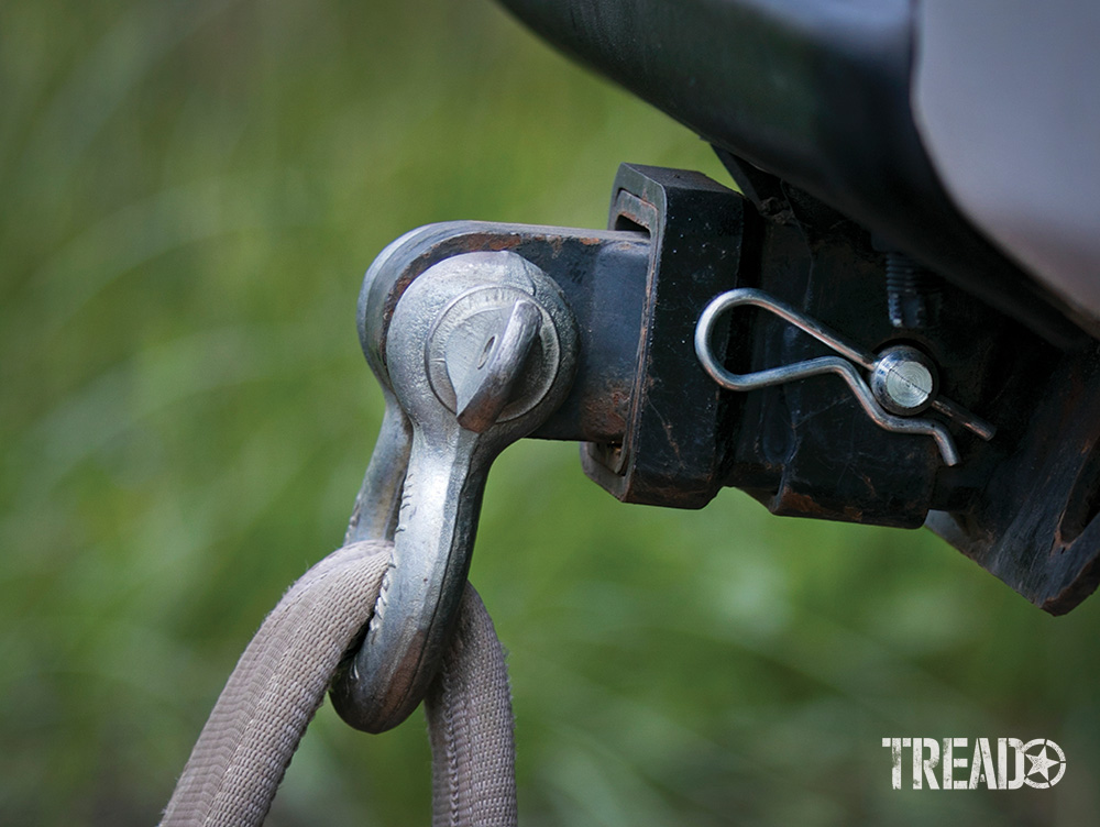 Remember to always use proper recovery points, like this black hitch receiver and metal shackle.