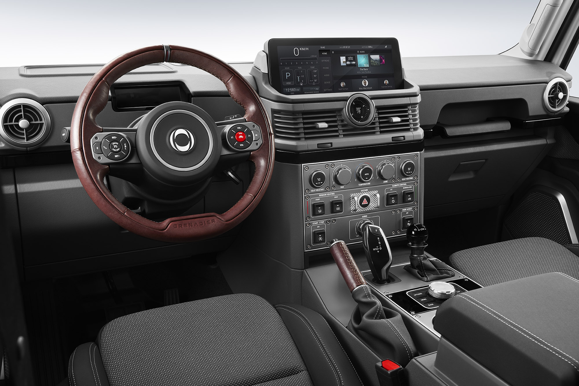 The INEOS Grenadier interior has blacks and grays and is simple, modern, intended.
