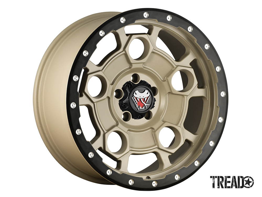 The M26 is offered in Mojave Sand gold color with a matte-black lip edge and machined drill holes. Styled in a unique, double-five-spoke oval window design, the M26 is available in five- and six-lug options and comes in 17x9, 18x9 and 20x9 sizes.