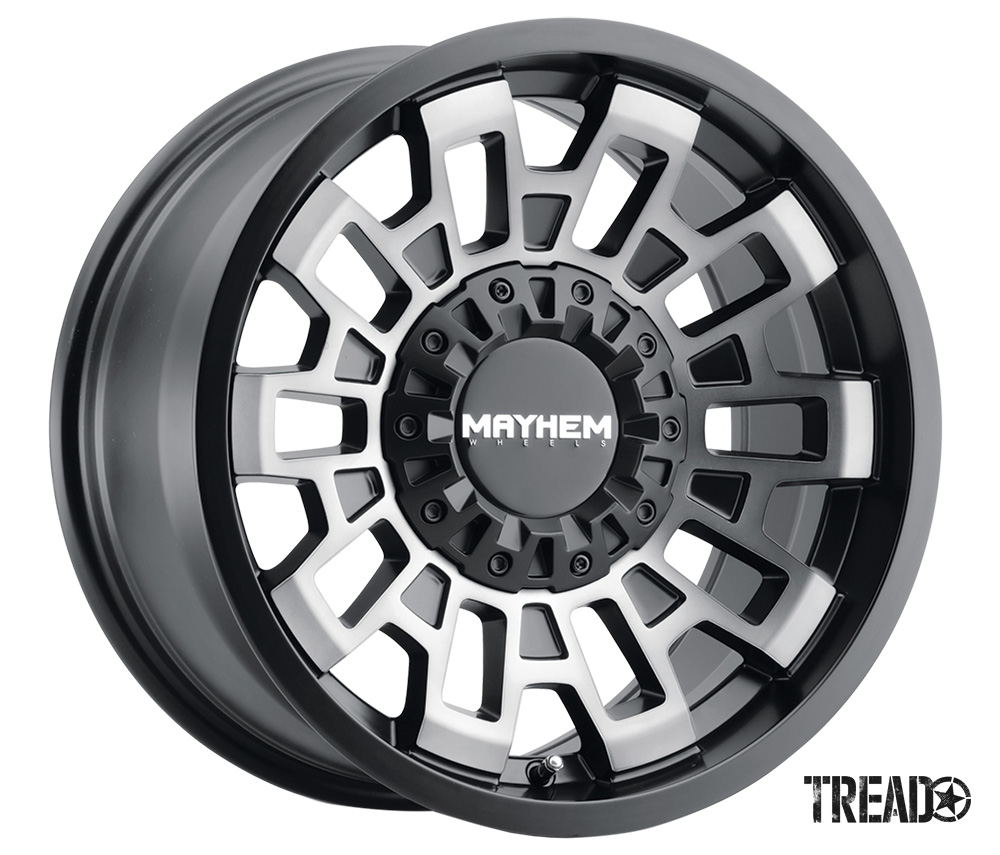 The Mayhem Cortex features performance-enhancing weight savings and robust durability. It can take the punishment of off-roading, yet it possesses a refined look for the streets. Pictured is silver and black rectangular insets with a solid, patterned centercap.