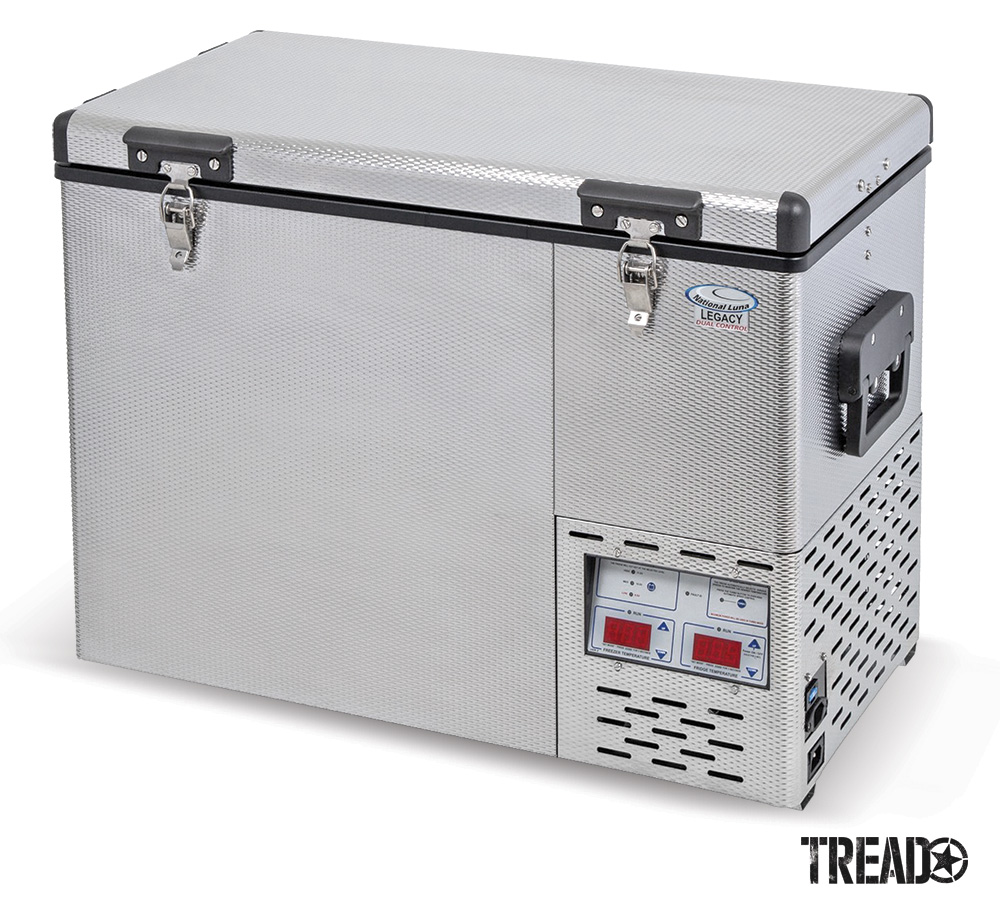 This silver fridge/freezer is the perfect overlander's food and drink companion when traveling to remote locations.