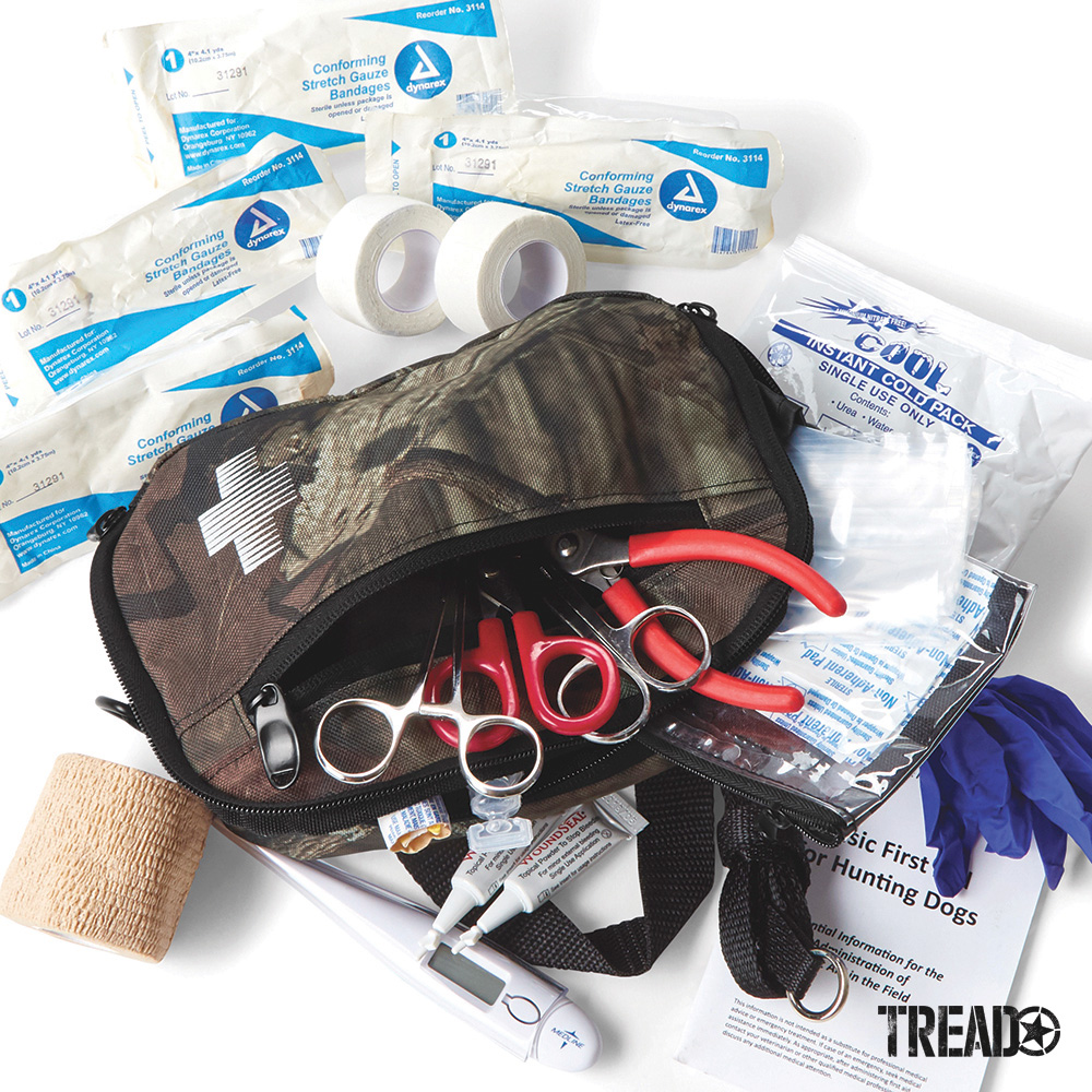 The Orvis Dog First Aid Kit comes in a zippered camo bag and is complete with an assortment of basic first aid products; in fact, there are more than 25 items to handle injuries. Also included is a comprehensive, 12-page guide about basic canine first aid.