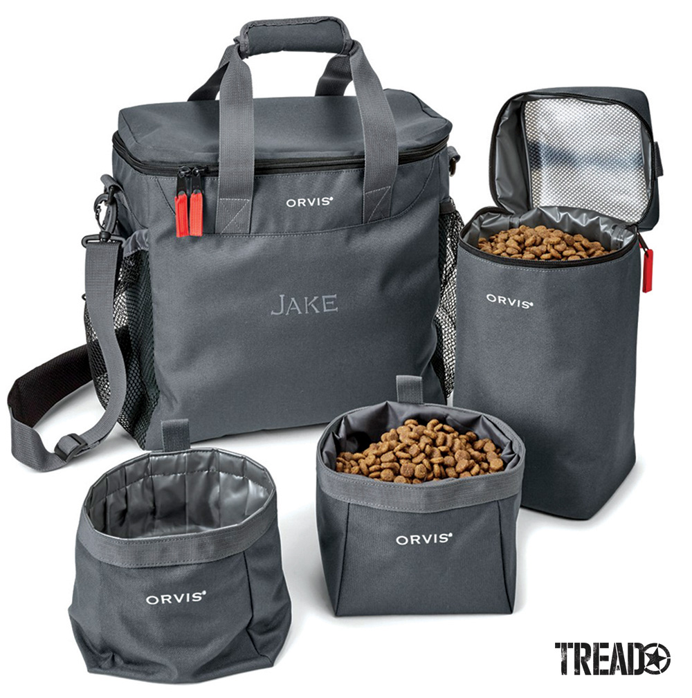 The dark gray Travel Kit contains three smartly designed, polypropylene-lined inner chambers: a large, airtight bag for storing 4 to 5 pounds of dry food and two collapsible and easy-to-clean travel bowls for food and water.