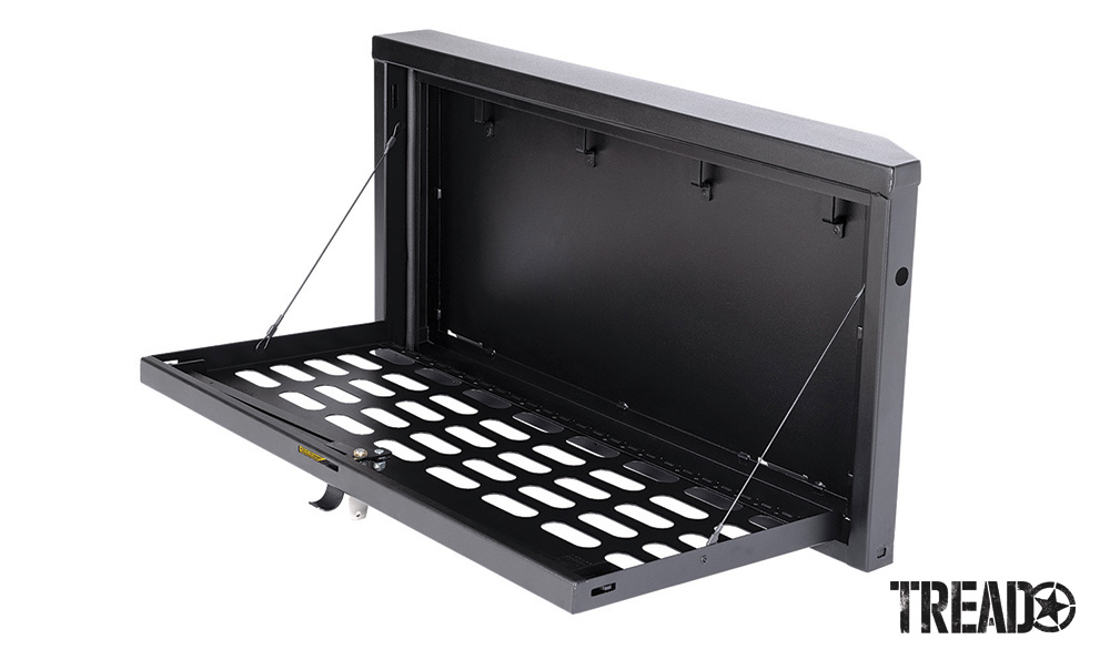 This silver and black lockbox from Tuffy helps keep contents secure when traveling off the beaten path.