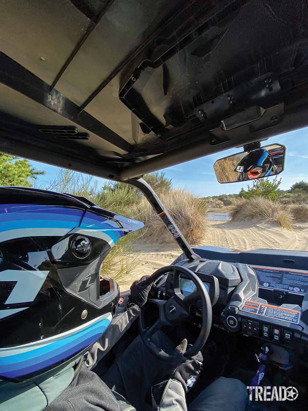 Driver view in a Can-Am Commander XT-P.