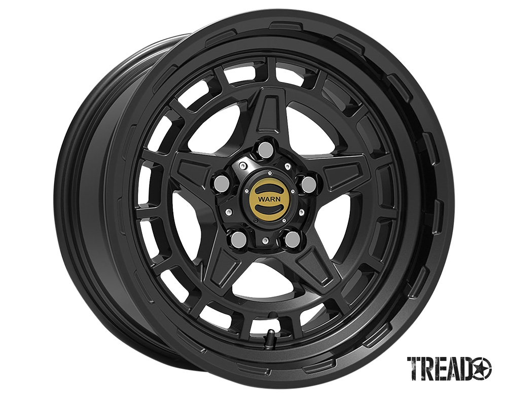 WARN Epic Wheels are available in a17x8.5-inch size with a 5x5 (5x127) bolt pattern and 0 offset, these hub-centric, high-quality, cast-aluminum wheels come with a choice of black or gunmetal powdercoated finishes, shown is black.