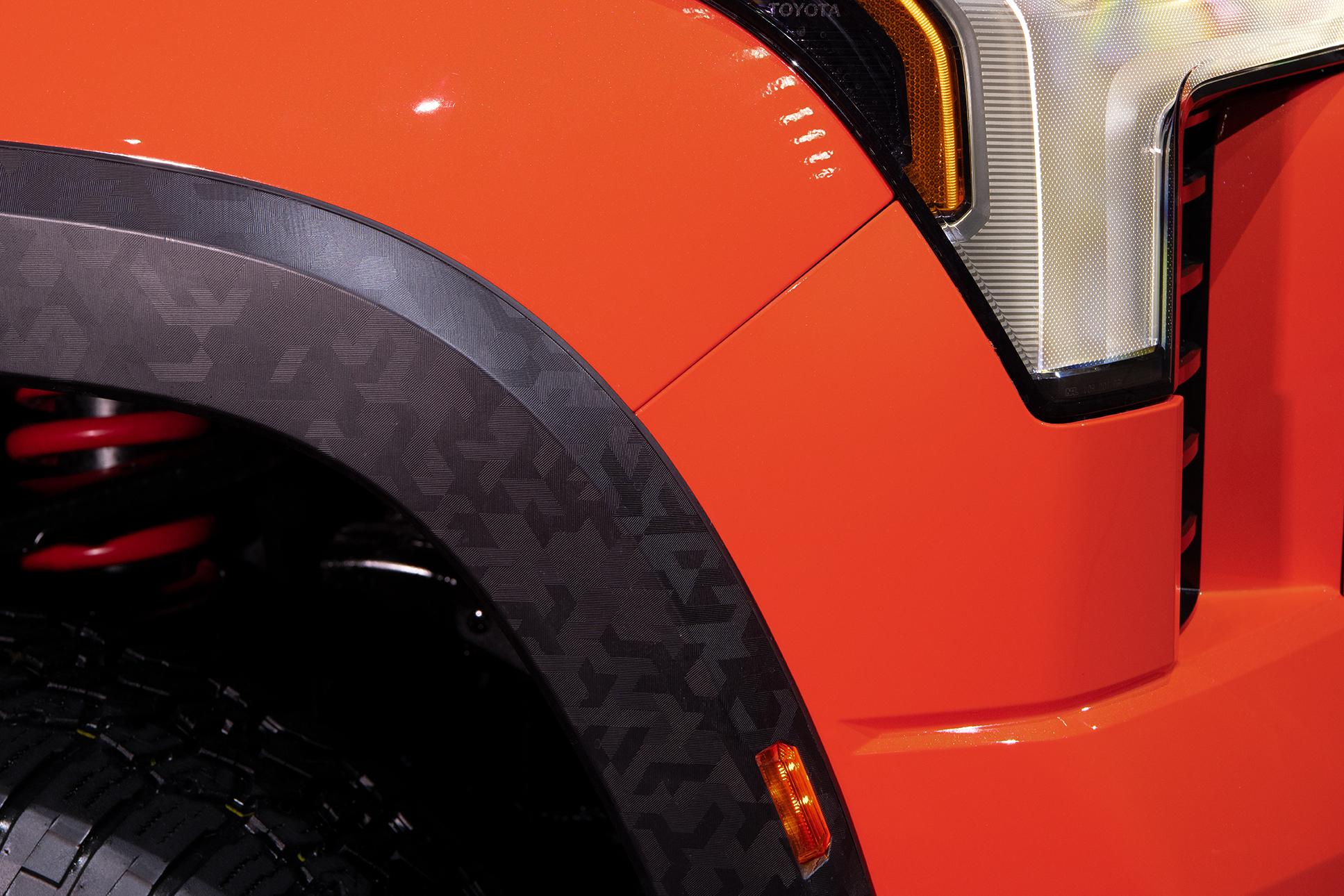 front fender of 2022 Toyota Tundra TRD Pro in Solar Octane orange