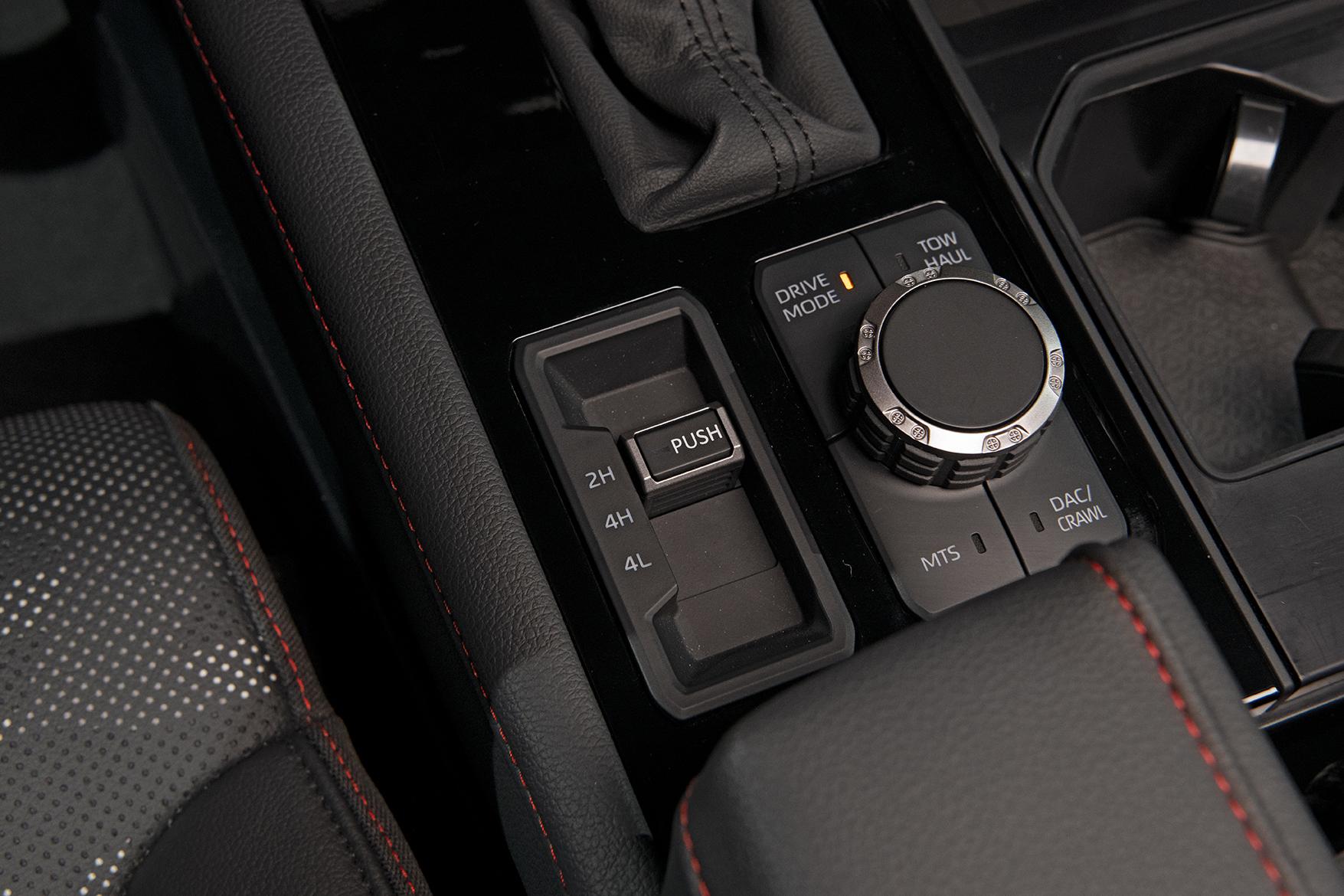 drive mode shifter of 2022 Toyota Tundra TRD Pro in Solar Octane orange