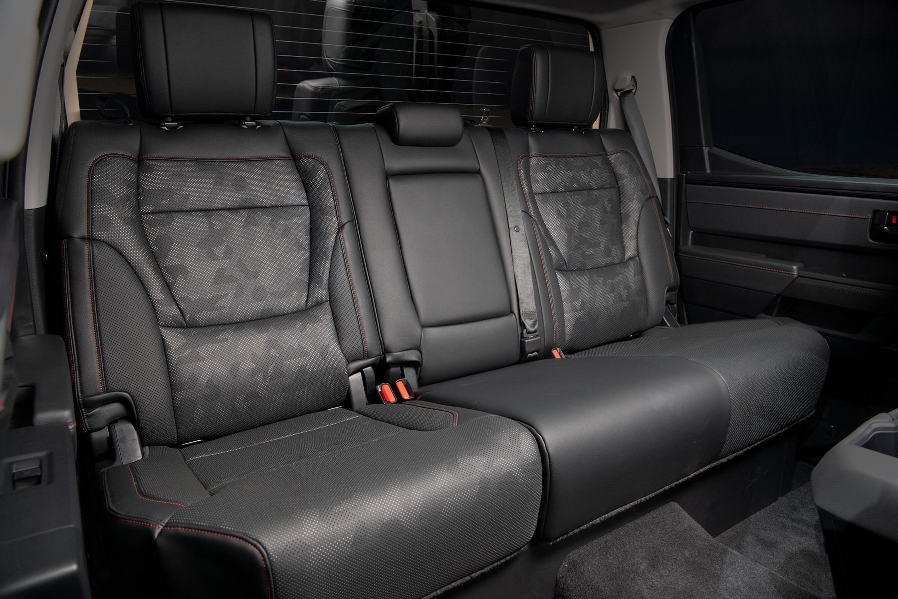 back seat of 2022 Toyota Tundra TRD Pro in Solar Octane orange