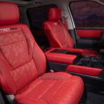 red interior of 2022 Toyota Tundra TRD Pro in Super White